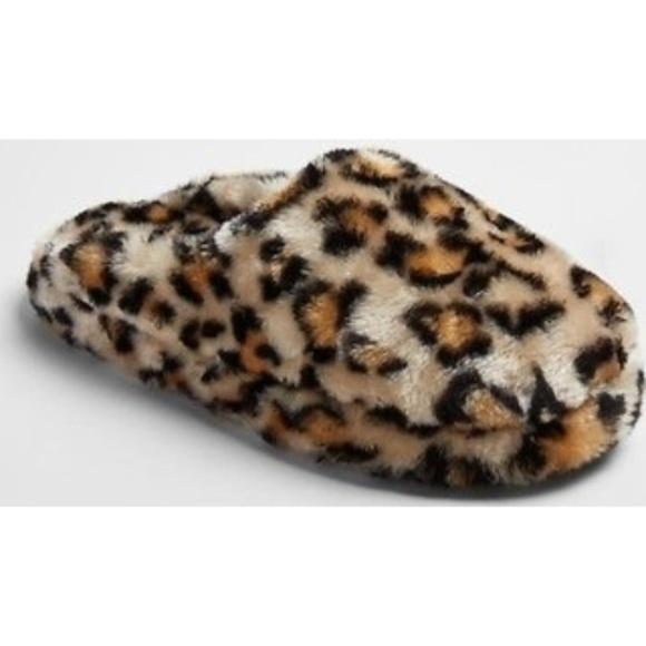 fuzzy leopard slippers